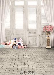 Wholesale Vinyl Backdrop Door - vinyl cloth photography backgrounds indoor wooden door gift customized computer printed photo backdrops for photo shooting wedding children