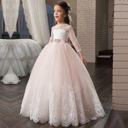 Wholesale Embroidery Aline Wedding Dress - 2016 Simple Flower Girls Dresses For Weddings Cap Sleeves Satin Floor Length Custom Made Aline First Communion Dresses For Girls