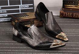 Wholesale Business Dress Tips - 2017 plus Size 37-46 Italy Brand Men Handmade Genuine Leather Men's Formal Wedding Shoes Men Metal Tip Business Suit Dress Shoes