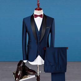 Wholesale Men S Ties Purple - Groom Tuxedos suits men Shawl Lapel Purple Mens Suits Slim Fit Wedding Best Man Blazer with Pants and Vest Tie 3 pieces 5491