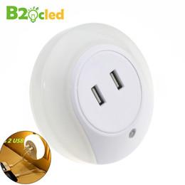 Wholesale Automatic Intelligence - Wholesale- LED night light sensor 2 USB Charging socket LED 110V 220V 0.5W automatic night lamp intelligence warm white light for bedroom