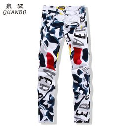 Wholesale Big Print Jeans - Wholesale-QUANBO Big size 28-44 2016 New white jeans men Fashion Printed slim straight jeans hombre Casual Debris Pattern stretch jeans