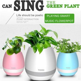 Wholesale Wholesale Modern Flowers Pots - TOKQI Touch Music Flower Pot Flowerpots with Bluetooth Speakers and Colorful Night Light Rechargeable Wireless Round Pot (whitout Plants)