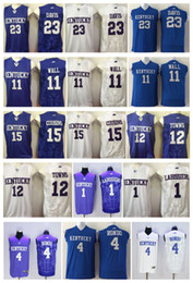 Wholesale Purple Walls - College Kentucky Wildcats 15 DeMarcus Cousins 11 John Wall 4 Rajon Rondo 1 Skal Labissiere 12 Karl-Anthony Towns 23 Anthony Davis jersey