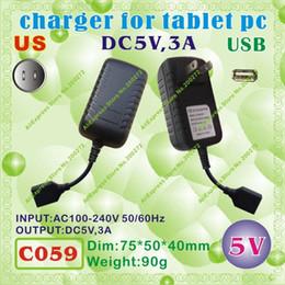 Wholesale Sanei Usb - Wholesale- 2pcs [C059] USB   5V,3A   US power plug (United States Standard) Charger or Power adaptor for tablet pc;onda,sanei,cube,ONN