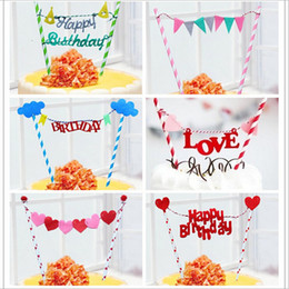 Wholesale Rainbow Birthday Cakes - Wholesale- Rainbow Flags And banners Cupcake toppers Birthday Cake Topper Kids Birthday Party Supplies Baby Shower Girl
