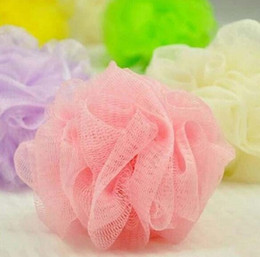 2019 sfere di sapone da bagno Wholesale- 10x colori casuali Soap Mesh Bagno Doccia Spugna Corpo schiuma Bubble Puff Net Ball 43916701 sfere di sapone da bagno economici