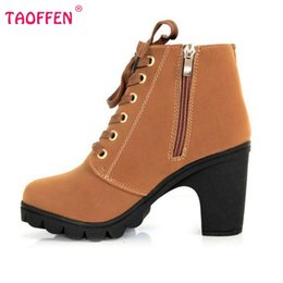 Wholesale Platform Heel Ankle Boot - Wholesale-Autumn Winter Women Ankle Boots High Heels Lace Up Buckle Platforms New Fashion Women Shoes Female Botas Shoes Size 35-40