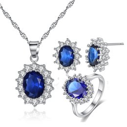 Wholesale Swa Set - British Kate Princess Diana William wedding jewelry sets necklace earrings ring with diamond fashion engagement jewelry set SWA Element ring
