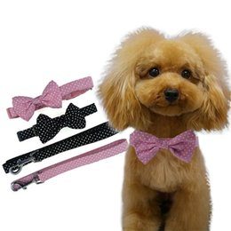 Wholesale Dog Collar Jewelry Bells - Polka Dot bowtie for dog adjustable dog bow tie collar Cute Bowtie Grooming Pet Jewelry Collar Leash