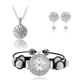 Wholesale Disco Balls Watches - Hot Sale AB Clay Disco Ball Crystal Shamballa Watch Set Crystal Bracelet Earring Necklace Pendant Jewelry Sets SHLSTAmix1