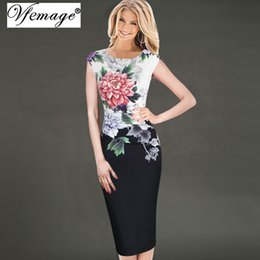 Wholesale mother s evening dresses - Vfemage Womens Elegant Vintage Flower Floral Printed Ruched Casual Vestidos Bridesmaid Mother of Bride Evening Party Dress 3156