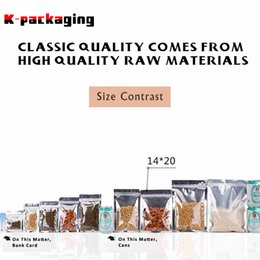 Wholesale Food Grade Packaging Materials - 5 pcs 14x20cm Zipper Lock Food Grade Material Aluminum Foil Transparent Front Packaging Bag for Grocery