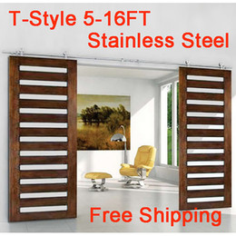 Wholesale 6 FT Modern Silver Top Mount Stainless Steel Sliding Barn Wood Door Hardware Flat Closet Roller Track Set Kit