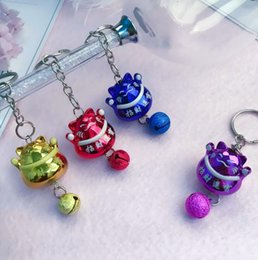 Wholesale Lucky Cross Metal - Good A++ Lovely Lucky Cat Bell Car Keychain Bag Key Chain Pendant Phone Case Accessories KR274 Keychains mix order 20 pieces a lot