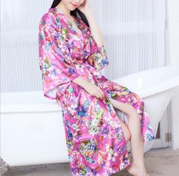 Wholesale Ladies Long Xl Nightgowns - 2017 Women Satin Ethnic Long Kimono Robe Bridesmaid Print Floral Bathrobe Lady Loose Nightgown Sleepwear Dressing Gown