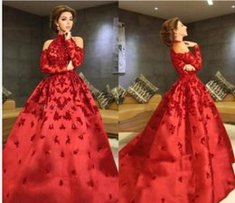 Wholesale Myriam Dress Tea - Red High Neck Myriam Fares Evening Dresses 2017 Halter Long Sleeves Appliques Beaded Satin Ball Gown Celebrity Dresses Formal Prom Dresses