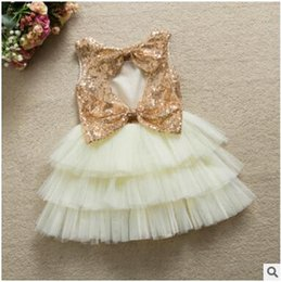 Wholesale Princess Ball Gown Dress Cake - Christmas Clothing Girls Dress Gifts Sequin Bowknot Infant Flower Baby Princess Tutu Cake Dresses Hollow out Kids Party Dresses