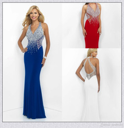 Wholesale Sapphire Blue Evening Gown - Low V Neck Blush Prom Evening Dresses 2016 Beaded Illusion Cut Out Sapphire Jersey Party Pageant Dress KR Formal Gowns Zipper Open Back