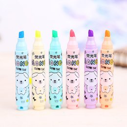 Wholesale Bear Stationery - Wholesale-6 Pcs lot Kawaii Cute Deli Bear Colors High-light Pens Office School Supplies Stationery For Student Kids Free Shipping