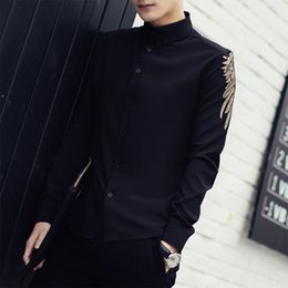 Wholesale Korean Men Fashion Shirt Casual - Wholesale- Chemise Homme 2016 New Spring Solid Long Sleeve Embroidered Shirt Men Korean Fashion Slim Fit Casual Men Shirt Black White 3XL-M
