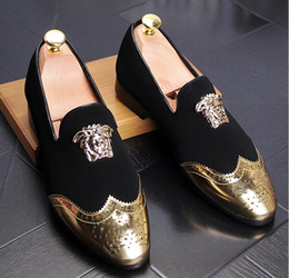 Wholesale Sequined Platforms - 2017 Men Glitter Shoes New Mens Fashion Casual Flats Men's Designer Dress Shoes Sequined Loafers Men's Platform Driving Shoes AXX357