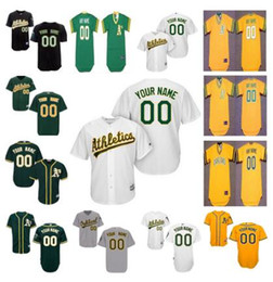 Wholesale Cheap Baseball Pullovers - Personalized Cool Base Oakland Athletics Custom Mens Womens Youth Kid Cheap Baseball Jerseys Home White Gray Road Gold Green Pullover S,4XL
