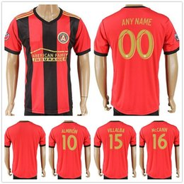 Wholesale Fc Soccer Jersey - 2017 2018 Atlanta United FC Football Shirt ALMIRON 10 MCCANN 16 VILLALBA 15 MARTINEZ 7 GARZA JONES Home Red Customize Name Soccer Jerseys