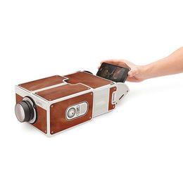 Wholesale Mini Home Cinema - Wholesale-DIY Portable 1400 Lumen 640x480dpi Cardboard Cinema Mini Overhead SmartPhone Projector Best Toy Gift for Family Home Theater