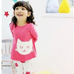 vêtements les plus récents Promotion Vente en gros - Nouveaux 2 Pcs Baby Girls Vêtements Cute Cat Long Sleeve Dress T-shirt Pantalons Set 2-7Y