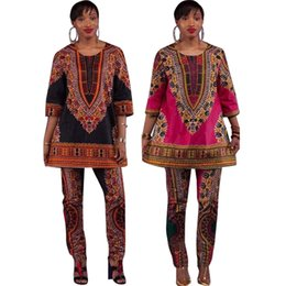 Wholesale Xl Womens Dress Pants - 2017 African fashion design dress Suits S-XXXL Big Size Womens Traditional Print Dashiki National Half Sleeved Two Pieces Set Jumpsuits