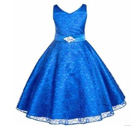 Wholesale Teenage Princess Style Dresses - Girls party wear clothing for children summer sleeveless lace princess wedding dress girls teenage well party prom dress