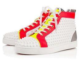 Wholesale Wedding Band Box - Luxury Men Women Red Bottom Sneaker Party Wedding Genuine Leather Louisfalt Spikes Black White Casual Shoes [Original Box]
