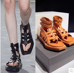 Wholesale Thick Wedge Flip Flops - Woman Shoes 2017 Summer New Designer Flip Flops High Gladiator Sandals For Women Pu Black Brown Thick Soled Fashion Punk Shoes Drop Shipping