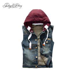Wholesale Denim Jacket Vest Sleeves - High Quality Denim Vest Men Fashion Ripped Waistcoat Detachable Hooded Washed Cowboy Sleeveless Jacket Chaleco Hombre DCT-077