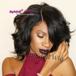Wholesale Peruca Natural - Synthetic Short Wavy Wigs for Black Women Layered Cut Short Curly Peruca Natural Daily Wig Heat Resistant Cheap Black Wig