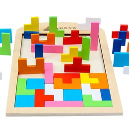 Wholesale Early Baby - 1 pc Wooden Russian Tetris Puzzle Jigsaw Intellectual Building Blocks and Training Toy for Early Education Baby Kids Wood Toys Children Gift