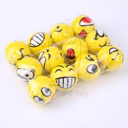 Wholesale 6 cm yellow face smiling face ball Sponge hair ball child Foam toys Pressure ball custom made stress reliever Dog toy Elastic