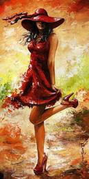 Wholesale Framed Fine Art - Framed Lady in Red by Emerico Toth,Pure Handpainted Huge Wall Deco Abstract Fine Art Oil Painting canvas Free Shipping,Mulit sizes Ab043