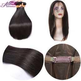 Wholesale Cheapest Brazilian Virgin Hair - Cheapest Brazilian Virgin Human Hair 3Bundles With 360 Lace Frontal closure 3Pcs Brazilian Virgin Hair Bundles with 360Lace Frontal