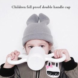 Wholesale Candy Drinks - Children's cups, big ear cups, milk   cereal drinking tools,candy color,lovely color,baby anti-scalding,environmental protection materials.