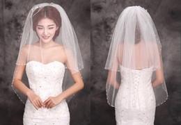 Wholesale Short Bridal Veils Rhinestones - New Stayle Cheap Ivory Bridal Veils Two Layers Beads Edge Tulle Short Veil Bridal Wedding Veil new high quality beauty bridal simple