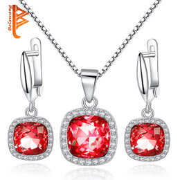 Wholesale Earings Pendants - BELAWANG Blue&Red Austrian Crystal Jewelry Sets 925 Sterling Silver Dangle Earings&Pendant Necklace for Women Jewelry Gift Wholesale