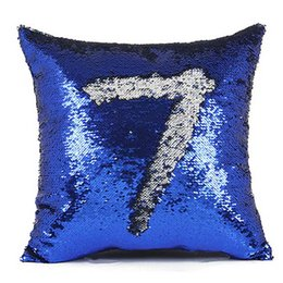 Wholesale Square Sequins Wholesale - 40cm *40cm Color Changing Reversible Pillow Case DIY Mermaid Sequin Cushion Cover Home Decoration Sofa Bed Decorative Pillow
