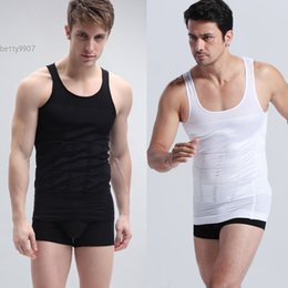 Wholesale Men S Vests For Sale - New mens tank top fashion 2016 Vest Slimming Shirt Corset Body Shaper Fatty Hot sale New Black White For Casual Sport Fitness