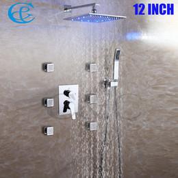 Wholesale Square Tap Set - Spa At Home 6 PCS Whole Massage Body Jets Chrome Brass Rain 3 Colors LED Shower Head Set Bathroom Bath Shower Faucet Tap 002-8 10 12-2N