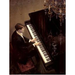 Dipinti jazz online-Dipinto a mano Figura riproduzione artistica di Brent Lynch Jazz Duet Pianoforte Dipinti ad olio su tela Home decor