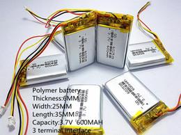 2019 bateria recarregável li ion polymer Venda quente 3.7 V 600 mAh Li Bateria De Polímero Li-ion Recarregável Para fones de ouvido tacógrafo MODELO 582535 SP5 mp3 mp4 GPS PSP 602535 062535 bateria recarregável li ion polymer barato