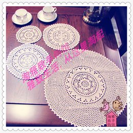 Wholesale Retro Dishes - Wholesale- 2016 new arrival 15-50 cm round natural cotton crochet retro lace tray for hot dish on the table as kitchen accessories for sale