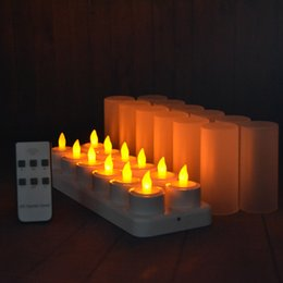 Wholesale 12 Led Rechargeable Candles - Rechargeable Flameless LED Tealight Candles Flickering Amber Yellow Mood Light Tea Lights with Remote & Timer 12 Pack